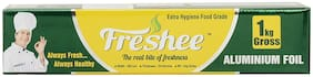 Freshee 1kg Gross Aluminium Silver Kitchen Foil Roll Paper/18 Micron Thick/Food wrap/Bacteria Resistant/Disposable/Food Parcel/Hookah/Fresh Food ( Pack of 1 )