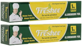 Freshee 1kg Gross Aluminium Silver Kitchen Foil Roll Paper 18 micron thickFood wrapBacteria ResistantDisposableFood ParcelHookahFresh FoodFood Grade Quality ( Pack of 2 )