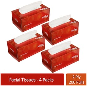 Freshee 200 Sheets 2 Ply Pack Of 4 Facial Tissue Paper/Bacteria Resistant/Hygience And Fresh Tissue Made With 100% Virgin Fibre/Value Plus Range Of Disposable Tissue