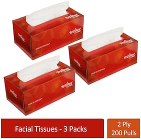 Freshee 200 Sheets 2 Ply Pack Of 3 Facial Tissue Paper/Bacteria Resistant/Hygience And Fresh Tissue Made With 100% Virgin Fibre/Value Plus Range Of Disposable Tissue