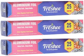 Freshee 20m New Aluminium Silver Kitchen Foil Roll Paper/10.5 Micron Thick/Food wrap/Bacteria Resistant/Disposable/Food Parcel/Hookah/Fresh Food ( Pack of 3 )