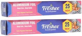 Freshee 20m New Aluminium Silver Kitchen Foil Roll Paper/10.5 Micron Thick/Food wrap/Bacteria Resistant/Disposable/Food Parcel/Hookah/Fresh Food ( Pack of 2 )