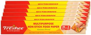 Freshee 22 Meter Multipurpose Non-Stick Food Paper;Grease Proof;Organic Paper for Baking;Cooking and Food Packaging (Pack of 6)