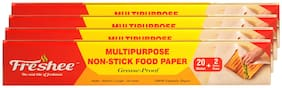 Freshee 22 Meter Multipurpose Non-Stick Food Paper;Grease Proof;Organic Paper for Baking;Cooking and Food Packaging (Pack of 4)