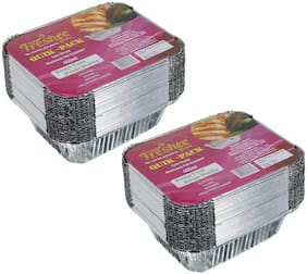 Freshee 25 pcs Strong Disposable Aluminium Silver Foil Container 450ml (Pack of 2)
