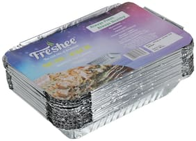 Freshee 25 pcs Aluminium Silver Foil Container 750ml | Food Storage Disposable Containers with Lid For Kitchen | Bacteria Resistant(Pack of 1 - 25pcs each)