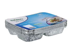 Freshee 3 Compartment Aluminiun Foil Container 10 pcs| 61 Micron Thik| Premium Quality Disposable Food Serving Dishes(Pack of 4)