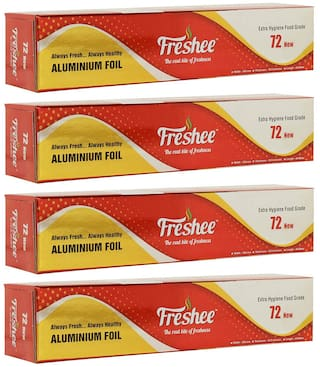 Freshee 44m New Aluminium Silver Kitchen Foil Roll Paper/10.5 Micron Thick/Food wrap/Bacteria Resistant/Disposable/Food Parcel/Hookah/Fresh Food ( Pack of 4 )
