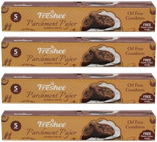 Freshee 5 Meter Parchment Butter Paper Roll and Free Plastic Cutter Inside (Pack of 4)
