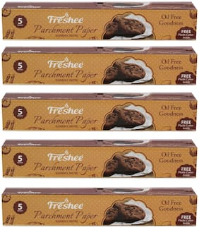 Freshee 5 Meter Parchment Butter Paper Roll and Free Plastic Cutter Inside (Pack of 5)