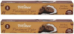 Freshee 5 Meter Parchment Butter Paper Roll and Free Plastic Cutter Inside (Pack of 2)