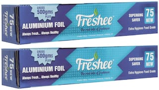 Freshee 500g Aluminium Silver Kitchen Foil Roll Paper/10.5 Micron Thick/Food wrap/Bacteria Resistant/Disposable/Food Parcel/Hookah/Fresh Food ( Pack of 2 )