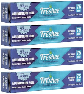Freshee 500g Aluminium Silver Kitchen Foil Roll Paper/10.5 Micron Thick/Food wrap/Bacteria Resistant/Disposable/Food Parcel/Hookah/Fresh Food ( Pack of 4 )