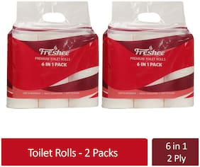 Freshee 6 In 1 Toilet Tissue Roll 2 Ply Pack Of 2 Tissue Paper,Bacteria Resistant,Hygience And Fresh Tissue Made With 100% Virgin Fibre,Skin Friendly Disposable Tissue