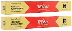 Freshee 72m Heavy Duty Aluminium Silver Kitchen Foil Roll Paper/18 Micron Thick/Food wrap/Bacteria Resistant/Disposable/Food Parcel/Hookah/Fresh Food ( Pack of 2 )