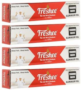 Freshee Aluminium Silver Kitchen Foil Roll Paper (156000sqcm) Pack of 4
