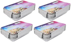 Freshee Aluminium Silver Foil Disposable Containers Pack of 4 x 25pcs