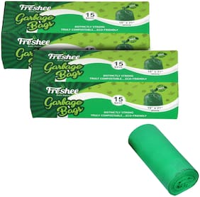 Freshee Compostable/Biodegradable Garbage Bag|Dustbin Bags|19 x 21 Inch Green Trash 15 Bags(Pack of 2)