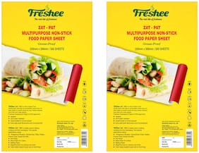 Freshee Greaseproof Paper 500 Pre Cut Sheets Non-Stick Food Paper 220mm x 356mm;Multi-Purpose Organic Paper for Baking Food Wrapping (Pack Of 2)