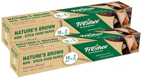 Freshee Greaseproof Paper Nature'S Brown Non-Stick Food Paper Multi-Purpose Organic Paper For Baking Food Wrapping 18 Meter & 2 Meter Free Pack of 2