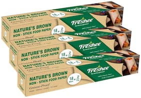 Freshee Greaseproof Paper Nature'S Brown Non-Stick Food Paper Multi-Purpose Organic Paper For Baking Food Wrapping 18 Meter & 2 Meter Free Pack of 3