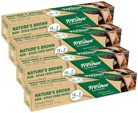 Freshee Greaseproof Paper Nature'S Brown Non-Stick Food Paper Multi-Purpose Organic Paper For Baking Food Wrapping 18 Meter & 2 Meter Free Pack of 4