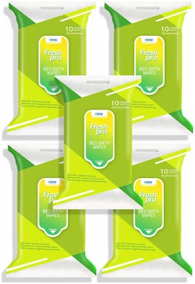 FRESHPRO Bed Bath Wipes Green;10 Wipes (Pack of 5)