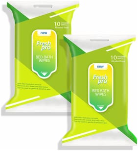 FRESHPRO Bed Bath Wipes Green;10 Wipes (Pack of 2)