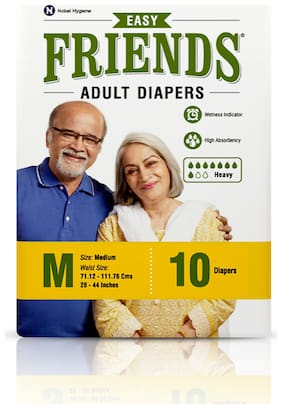 FRIENDS Easy Unisex Adult Diapers Medium Waist Size (28- 44 Inch) 10Pcs