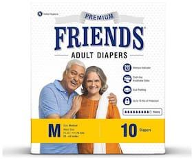 FRIENDS Premium Unisex Adult Diapers Medium Waist Size (28- 44 Inch) 10Pcs