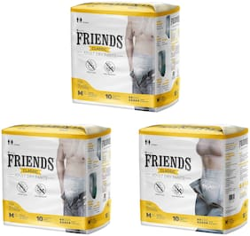 Friends Classic Adult Diapers Pants Style 10 Count (Medium) Pack Of 3