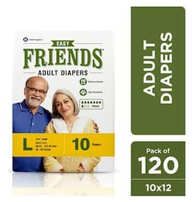 FRIENDS Easy Unisex Adult Diapers Large Waist Size (38- 60 Inch) 10Pcs (Pack of 12)
