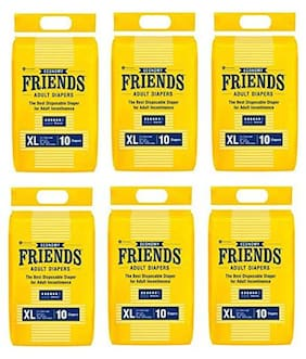 Friends Economy Adult Diapers Tape Style 10 Count (Extra Large) Pack Of 6