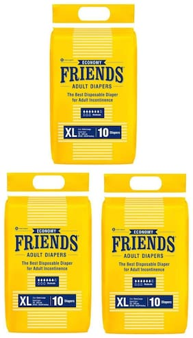 Friends Economy Adult Diapers Tape Style 10 Count (Extra Large) Pack Of 3