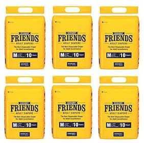 Friends Economy Adult Diapers Tape Style 10 Count (Medium) Pack Of 6