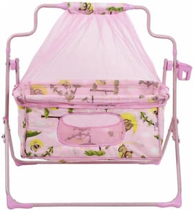 Fun Baby New Born baby Cradle with Bassinet Mosquito Net and Bottle Holder Bassinet (Pink)