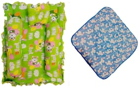 Fun Baby New Born Baby 4 pcs Bedding Set with 1 pcs baby wrapper (Pack of 5)