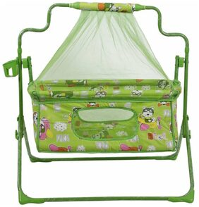 Fun Baby New Born baby Cradle with Bassinet Mosquito Net and Bottle Holder Bassinet (Green)