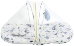 Fun baby New Born Baby Bed with Mosquito Net and Handing Toy with Mattress and Pillow (Blue)