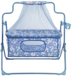 Fun Baby New Born baby Cradle with Bassinet Mosquito Net and Bottle Holder Bassinet (Blue)