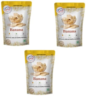 FZYEZY Natural Freeze Dried Banana Fruits for Kids and Adults Travel Friendly Ready to eat Readymade Healthy Snacks Pack of 3 - 50g Each