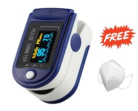 G Gapfill Smart Finger Tip Pulse Oximeter With Audio Visual Alarm And Respiratory Rate (Auto Poweroff) With Free Mask