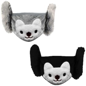 Gabbar Fashionable Teddy Face Mask with Ear Warm Cap | Pack of 2 | Compatible for 6 - 12 Years Kids