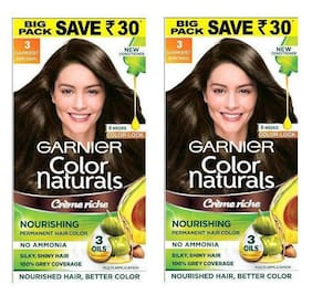 Garnier Color Naturals Cream Hair Color Shade 3 Big Pack Save Rs 30 Pack of 2