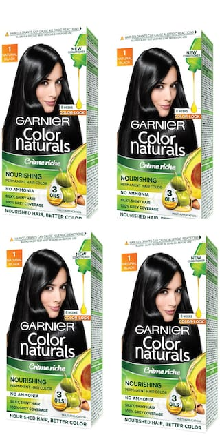 Garnier Color Naturals Cream Hair Color Shade 1 Big Pack Save Rs 30 Pack of 4