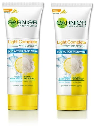 Garnier Light Complete Double Action Face Wash 100 G (Pack Of 2)