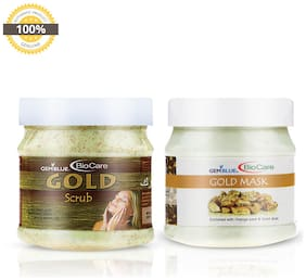 Gemblue Biocare Gold Scrub 500 ml & Gold Mask 500 ml (Pack of 2)