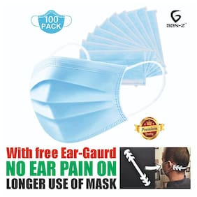 Gen-Z 3 Ply Surgical Mask With Earloop ( Pack Of 100) with Ear Guard
