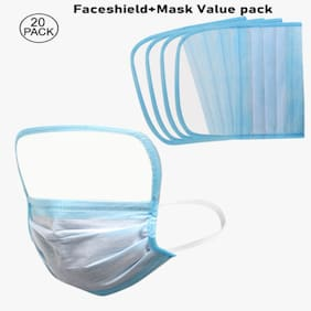 Gen-Z Face Shield Plus Surgical Mask (Pack Of 20)
