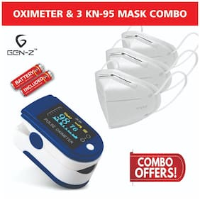 Gen-Z Finger Tip Oximeter with free batteries and 3 KN95 masks Value Combo (Pack of 2)